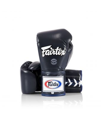 Fairtex Pro Competition Gloves - Locked Thumb (Leather)-Blue-8 oz.