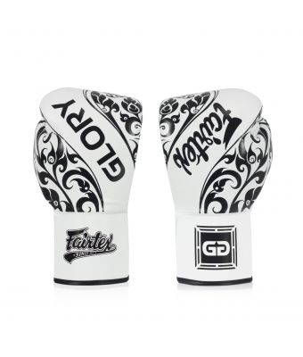 Fairtex X Glory Limited Edition Gloves – Lace up-White-8 oz.
