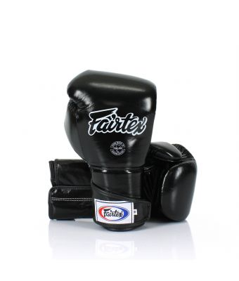 Stylish Angular Sparring Gloves - Locked Thumb-12 oz.-Black