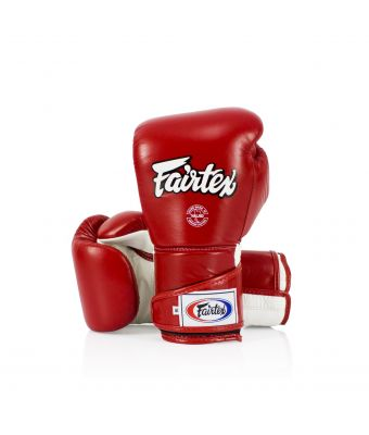 Stylish Angular Sparring Gloves - Locked Thumb-Red/White-10 oz.