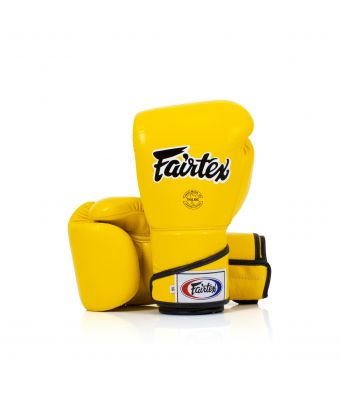 Stylish Angular Sparring Gloves - Locked Thumb-Yellow-10 oz.