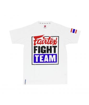 "Fairtex T-Shirt ""Fairtex Fight Team""-White/Blue-S"