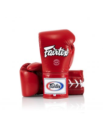 Fairtex Pro Competition Gloves - Locked Thumb (Leather)-Red-8 oz.