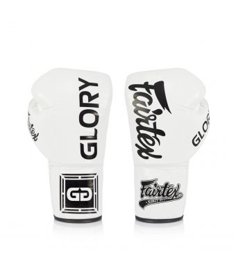 Fairtex X Glory Competition Gloves – Lace up-White-8 oz.