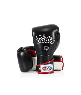 Stylish Angular Sparring Gloves - Locked Thumb-Black/White/Red-10 oz.