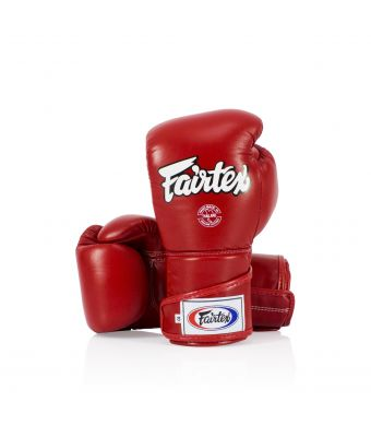 Stylish Angular Sparring Gloves - Locked Thumb-Red-10 oz.
