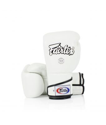 Stylish Angular Sparring Gloves - Locked Thumb-White-10 oz.