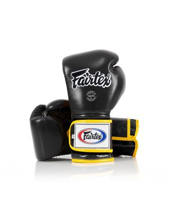 Heavy Hitter's Gloves - Mexican Style-Black/Yellow piping-10 oz.