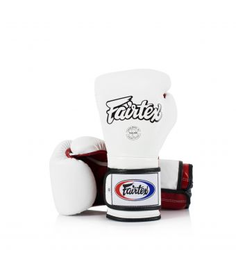 Heavy Hitter's Gloves - Mexican Style-White/Red-10 oz.