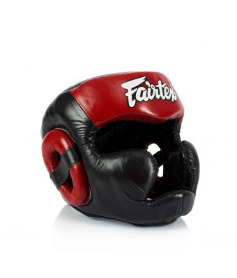 [50% off] Fairtex Headguards-HG13FH Diagonal Vision Sparring Headguard - Full Head Coverage-Black/Red-S