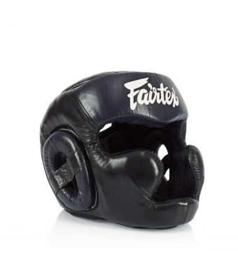 [50% off] Fairtex Headguards-HG13FH Diagonal Vision Sparring Headguard - Full Head Coverage-Black/Blue-S
