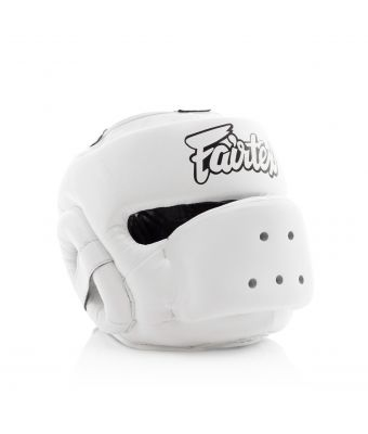 [50% off] Fairtex Headguards-HG14 Full Face Protector Headguard-White-S