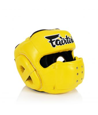 [50% off] Fairtex Headguards-HG14 Full Face Protector Headguard-Yellow-S