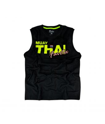 Fairtex Cotton Jersey - Muay Thai Neon-Black/Yellow-XS