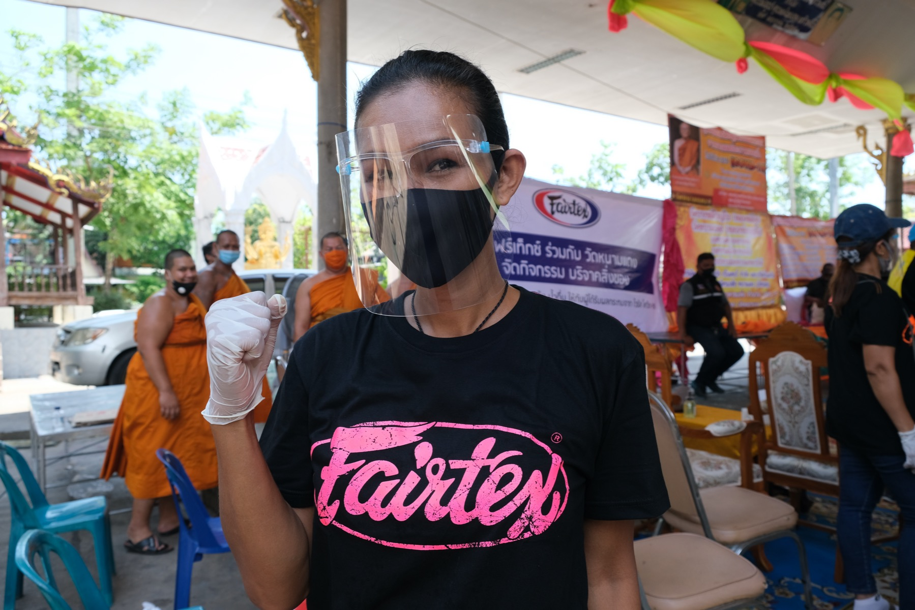 Nong Toom Fairtex helps local temple